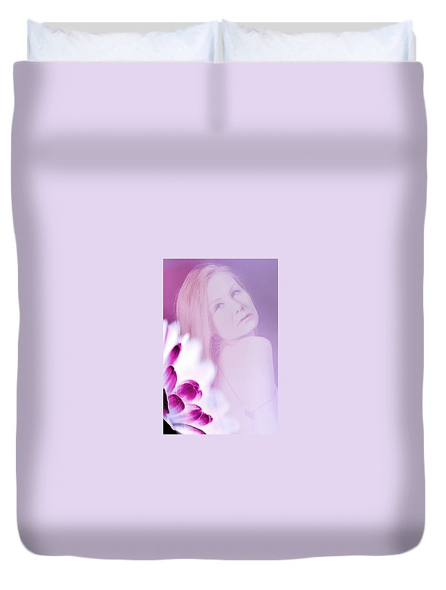 Pink Duvet Cover featuring the photograph The Story Behind The Pink by Alex Art and Photo