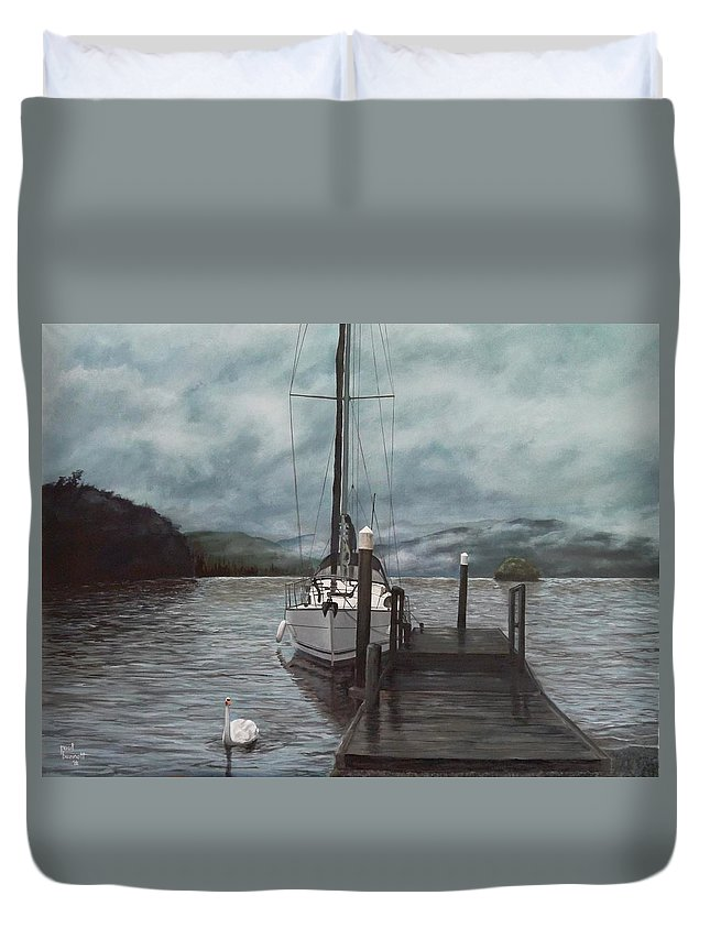 Water Duvet Cover featuring the painting the Jetty by Paul Bennett