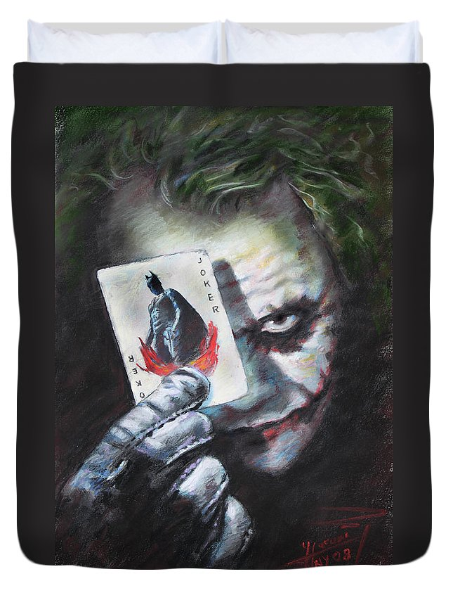 The Joker Heath Ledger Duvet Cover featuring the drawing The Joker Heath Ledger by Viola El