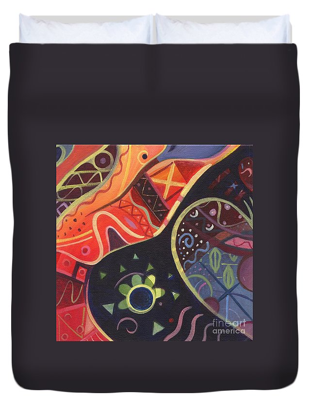 Abstract Duvet Cover featuring the painting The Joy Of Design II by Helena Tiainen