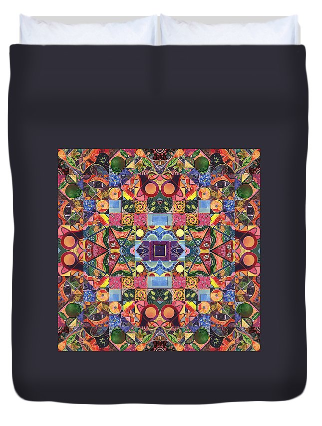 Abstract Duvet Cover featuring the digital art The Joy Of Design Mandala Series Puzzle 2 Arrangement 9 by Helena Tiainen