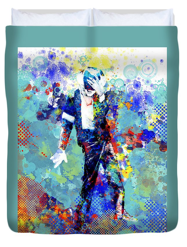 Michael Jackson Duvet Cover featuring the painting The king by Bekim M