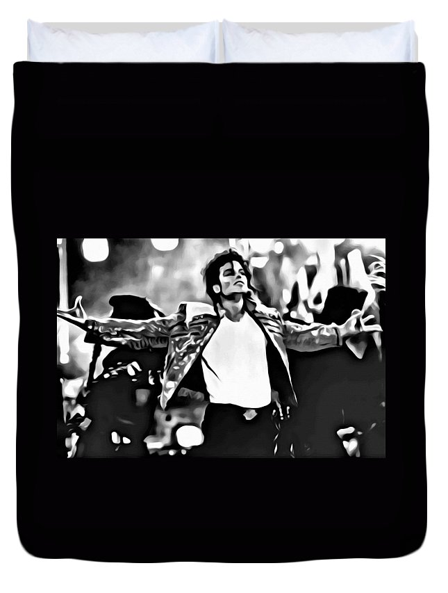 Celebrities Duvet Cover featuring the painting The King Of Pop by Florian Rodarte