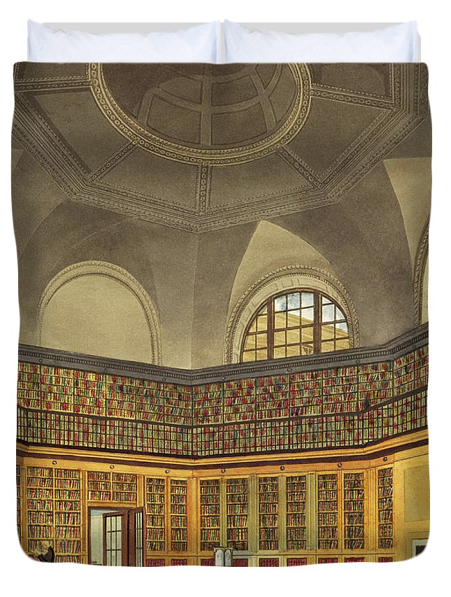 Interior Duvet Cover featuring the drawing The Kings Library by James Stephanoff