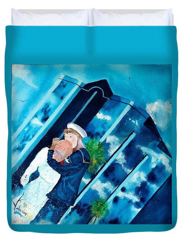 Sarasota City Scape Duvet Cover featuring the painting The Kiss At One Tower by Larry Johnson