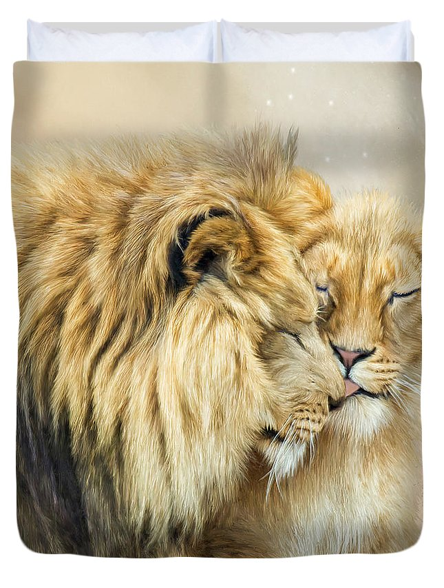 Lion Duvet Cover featuring the mixed media The Kiss by Carol Cavalaris