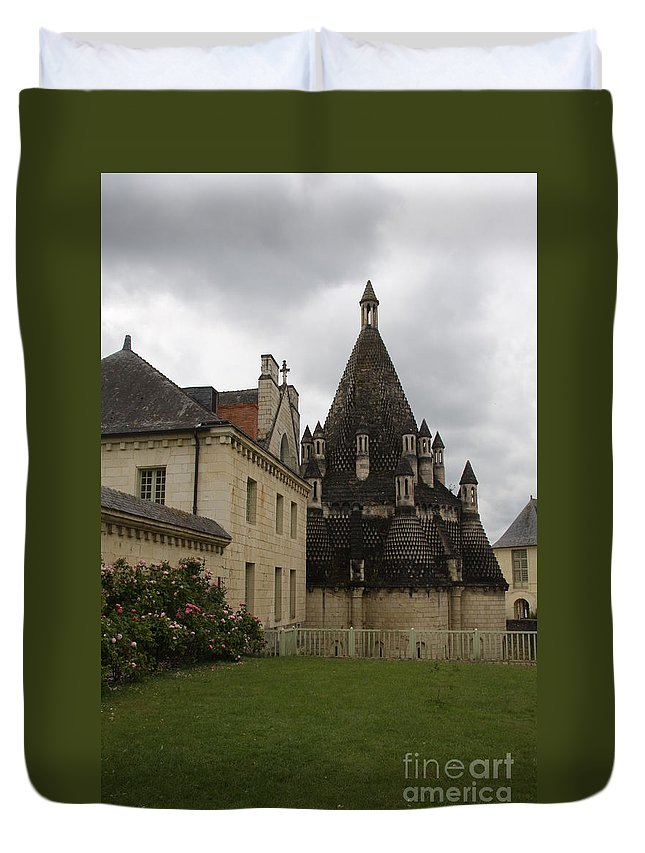 Kitchen Duvet Cover featuring the photograph The Kitchenbuilding - Abbey Fontevraud by Christiane Schulze Art And Photography