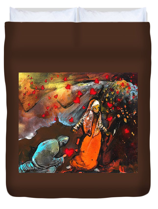 Valentine Duvet Cover featuring the painting The Knight Of Your Heart by Miki De Goodaboom