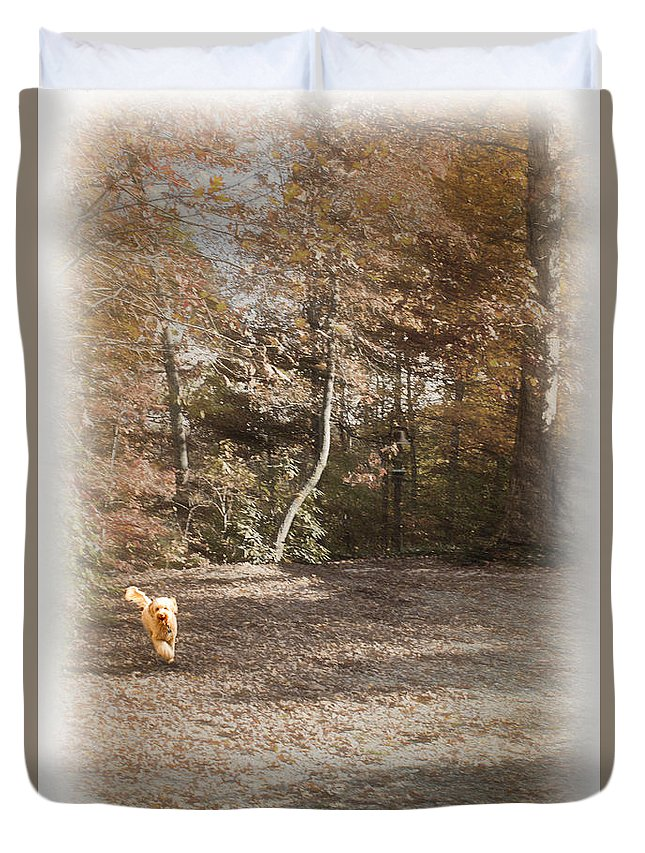 Labradoodle Duvet Cover featuring the photograph The Labradoodle On The Go by Sandra Clark