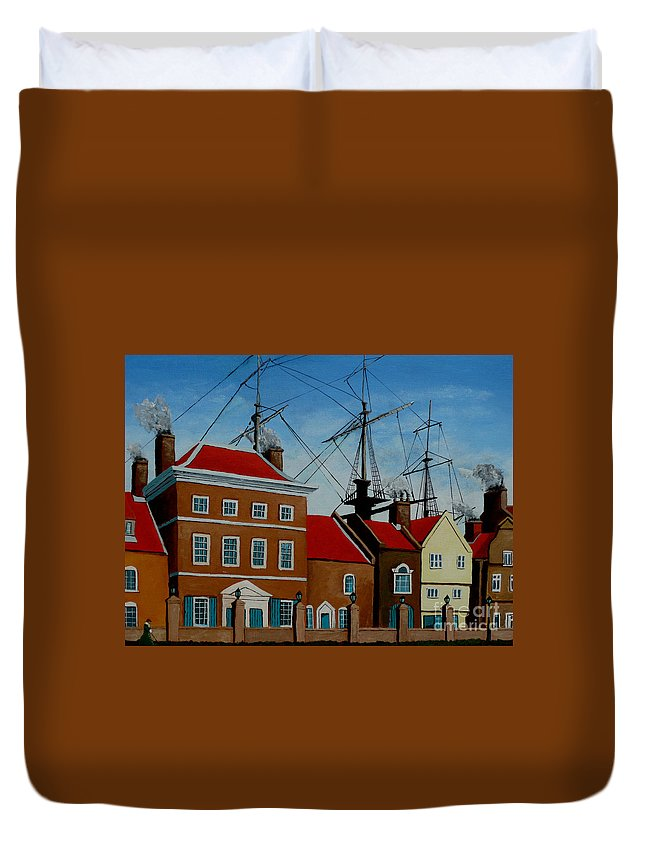 England Duvet Cover featuring the painting The Lady In Green by Anthony Dunphy