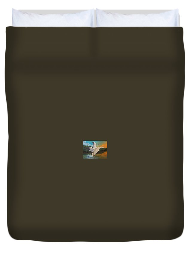 Rick Huotari Duvet Cover featuring the painting The Landing by Rick Huotari