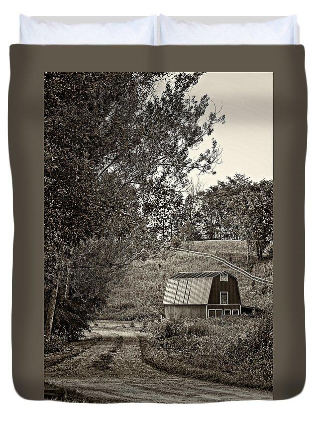 Lane Duvet Cover featuring the photograph The Lane Sepia by Steve Harrington