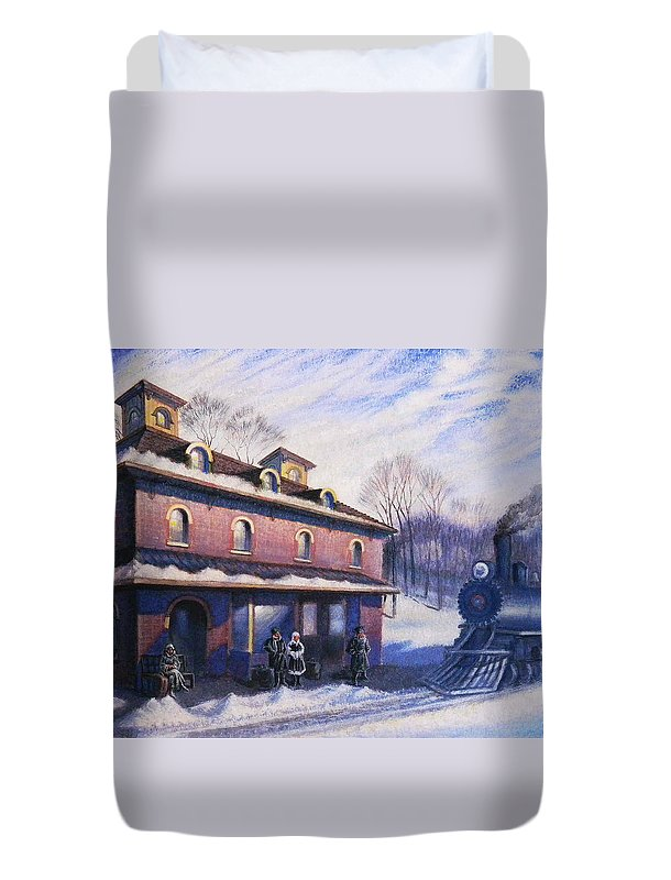 Railroad Duvet Cover featuring the painting The Last Station by Raffi Jacobian