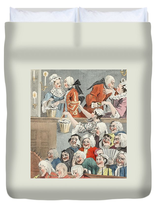 Laugh Duvet Cover featuring the drawing The Laughing Audience, Illustration by William Hogarth