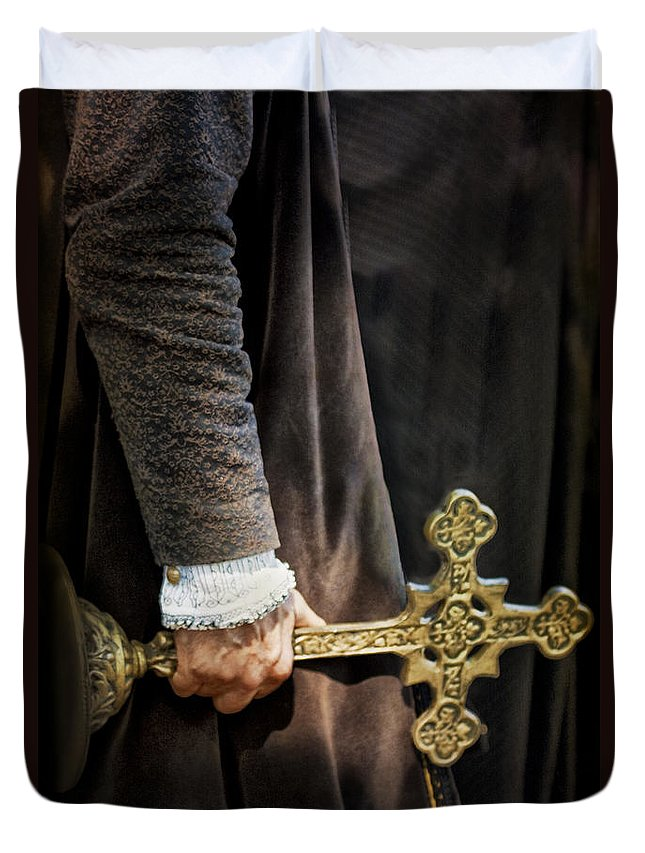 Caucasian; Medieval; Priest; Man; Male; Guildemaster; Robe; Ruff; Black; Hand; Cropped; Holding; Cross; Statue; Costume; Nobility; Period Costume; Renaissance; Vintage; Old; Clergy Duvet Cover featuring the photograph The Law by Margie Hurwich