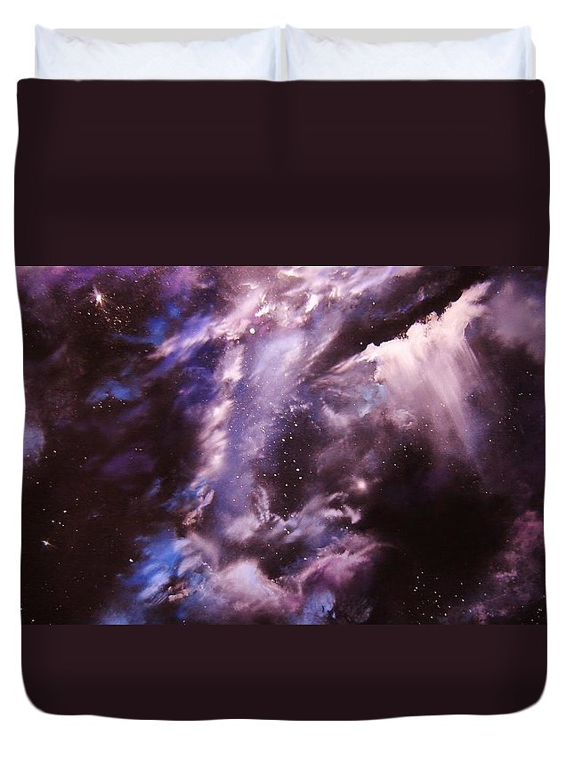 Space Duvet Cover featuring the painting The Lazuras Nebula by Eugene Budden