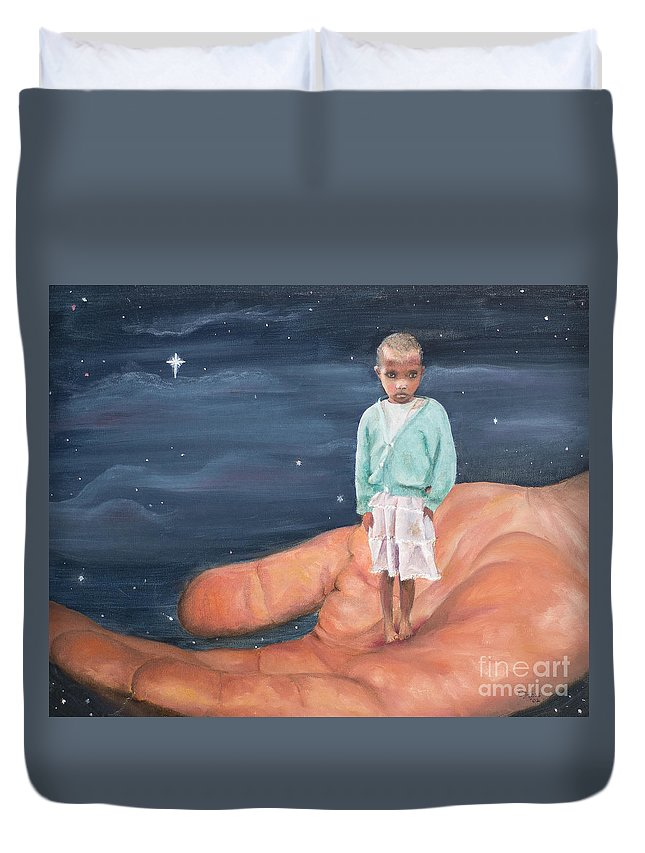 Child Duvet Cover featuring the painting The Least Of These by Catherine Hess