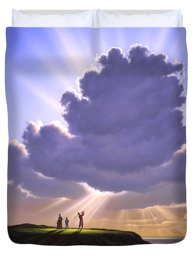 Golf Duvet Cover featuring the painting The Legend of Bagger Vance by Jerry LoFaro