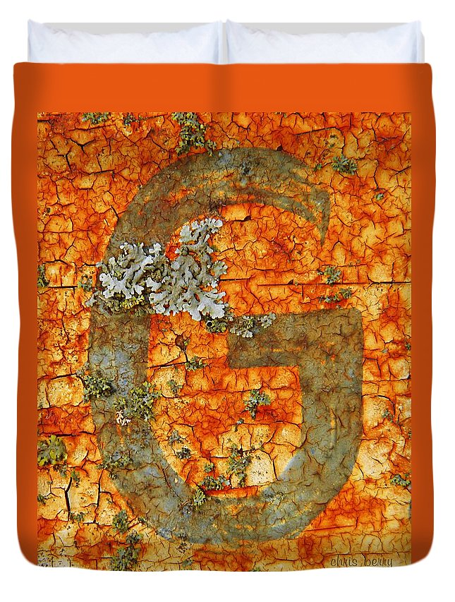 Rust Duvet Cover featuring the photograph The Letter G With Lichens by Chris Berry