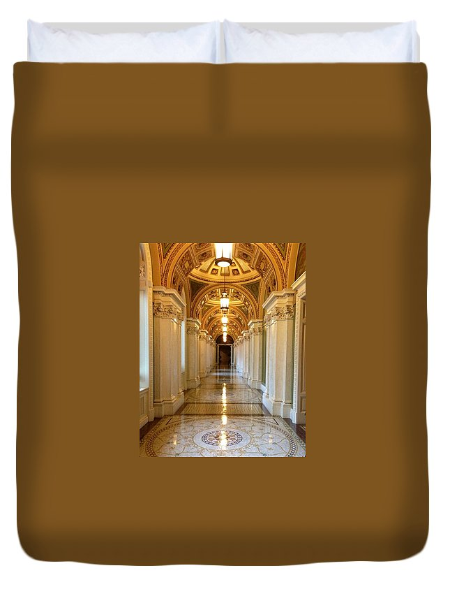 Library Of Congress Duvet Cover featuring the photograph The Library Of Congress Jefferson Building by Lois Ivancin Tavaf