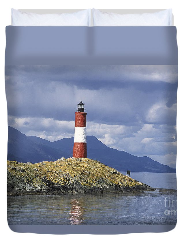 Lighthouse Duvet Cover featuring the photograph The Lighthouse At The End Of The World by James Brunker