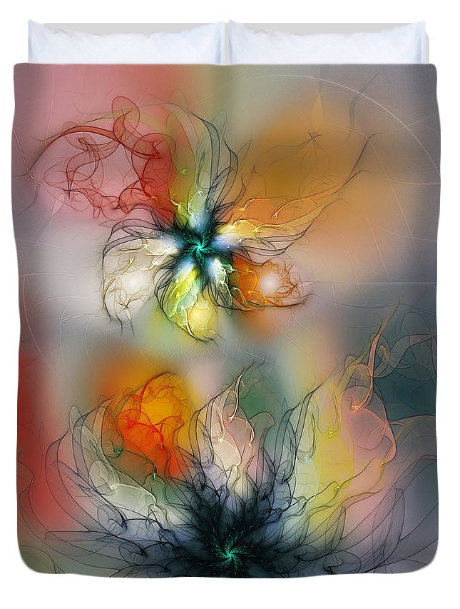 Abstract Duvet Cover featuring the digital art The Lightness of Being-Abstract Art by Karin Kuhlmann