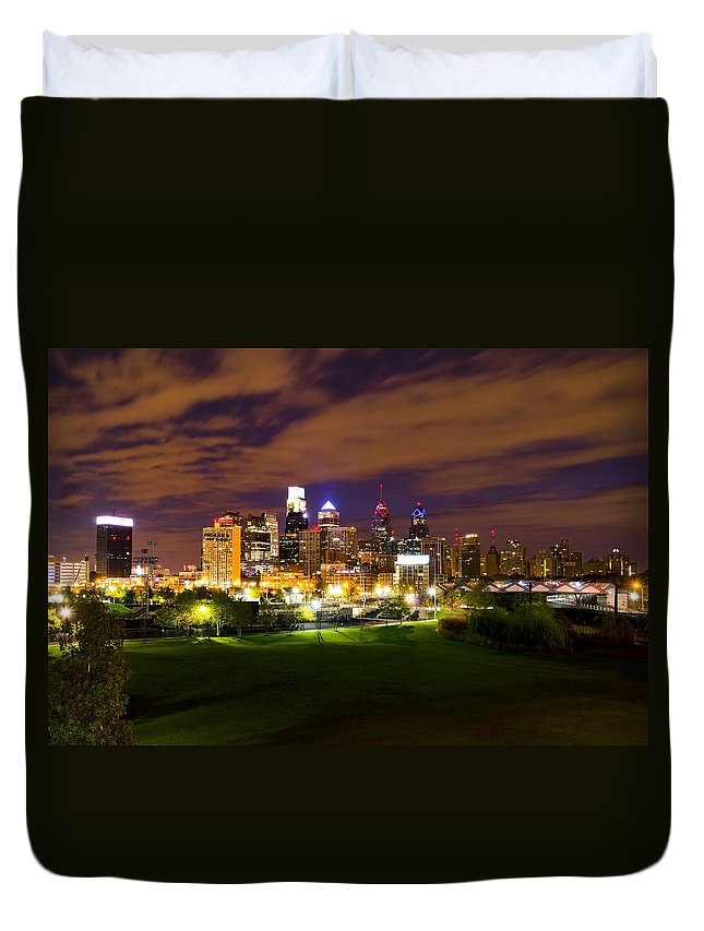Lights Duvet Cover featuring the photograph The Lights Of Philadelphia by Bill Cannon