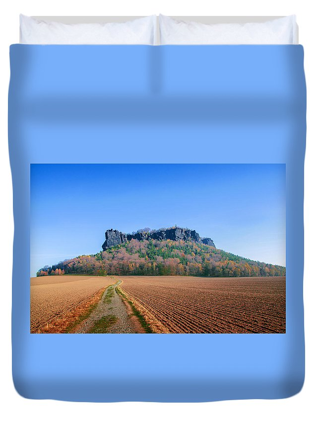 Germany Duvet Cover featuring the photograph The Lilienstein On An Autumn Morning by Sun Travels