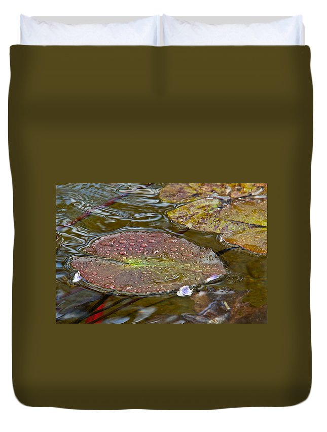 Lilypad Duvet Cover featuring the digital art The Lily Pad by Linda Unger