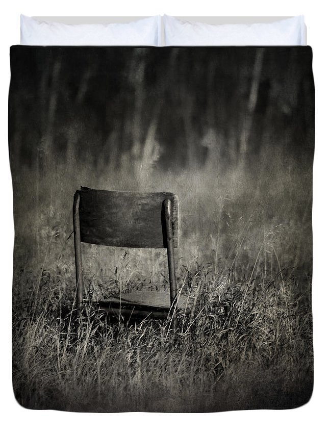 Chair Duvet Cover featuring the photograph The Listening Wind by The Artist Project