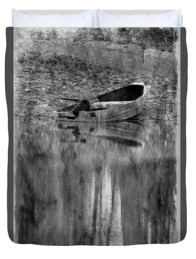 Nature Duvet Cover featuring the photograph The Little Boat Photoart by Debbie Portwood