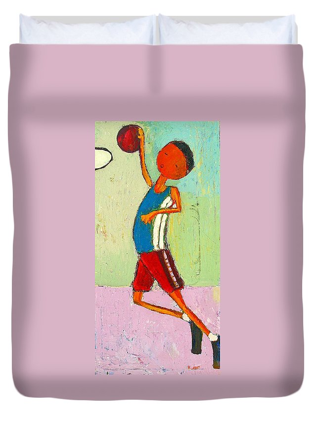 Abstract Duvet Cover featuring the painting The Little Champion by Habib Ayat