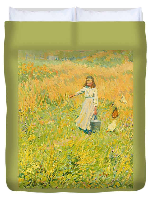 Painting Duvet Cover featuring the painting The Little Worker by Mountain Dreams