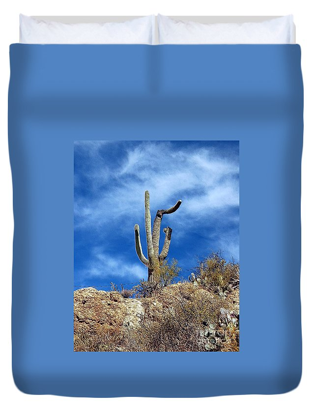 Cactus Duvet Cover featuring the photograph The Lonely Suguaro by Kathleen Struckle