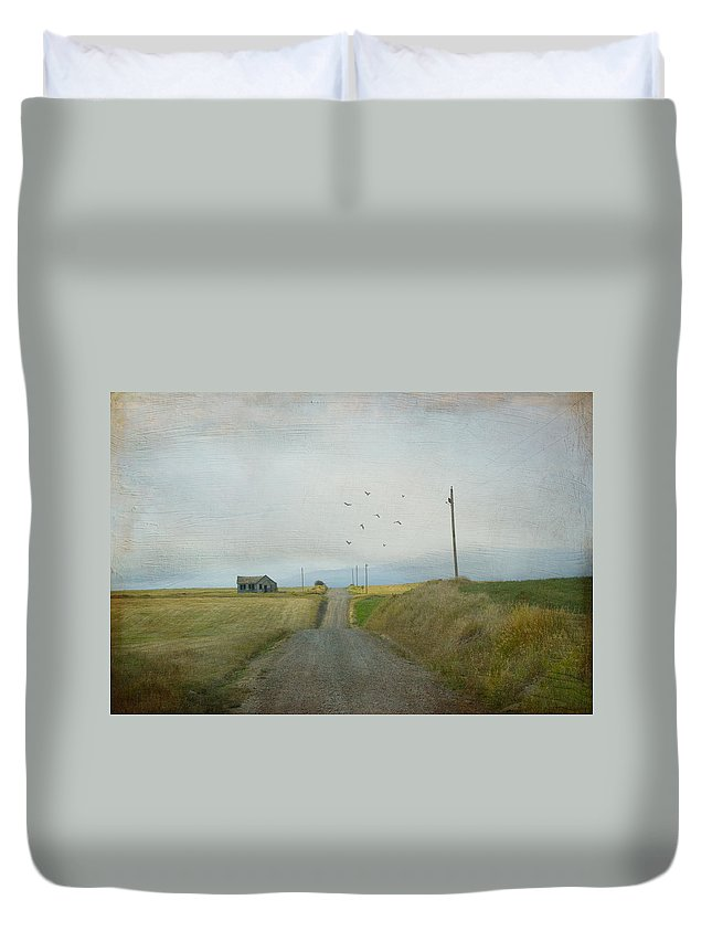 Landscape Duvet Cover featuring the photograph The Long Road Home by Juli Scalzi
