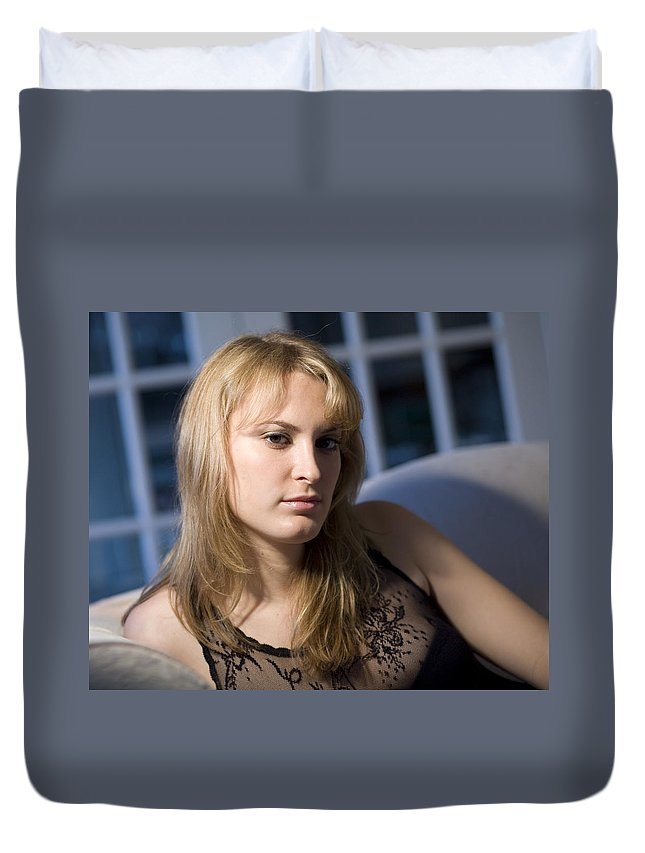 Girl Duvet Cover featuring the photograph The Look 13 by Madeline Ellis