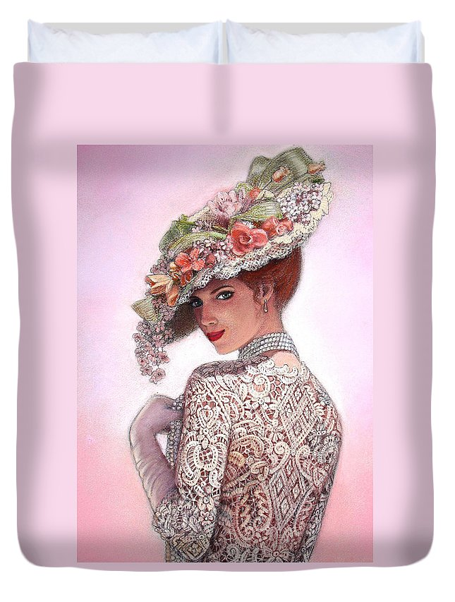 Portrait Duvet Cover featuring the painting The Look Of Love by Sue Halstenberg