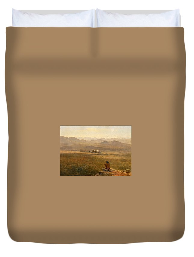 Albert Bierstadt Duvet Cover featuring the painting The Lookout by Albert Bierstadt