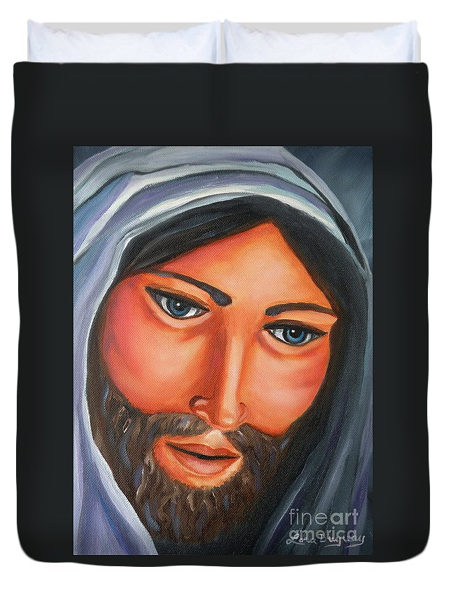 Jesus Duvet Cover featuring the painting The Lord Is My Shepherd by Lora Duguay