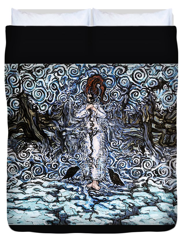 Woman Duvet Cover featuring the mixed media The Lost One by A Ka