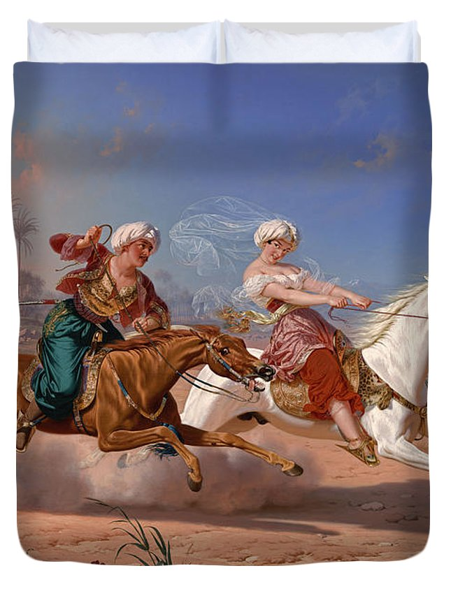 The Love Chase Duvet Cover featuring the painting The Love Chase by Charles Christian Nahl