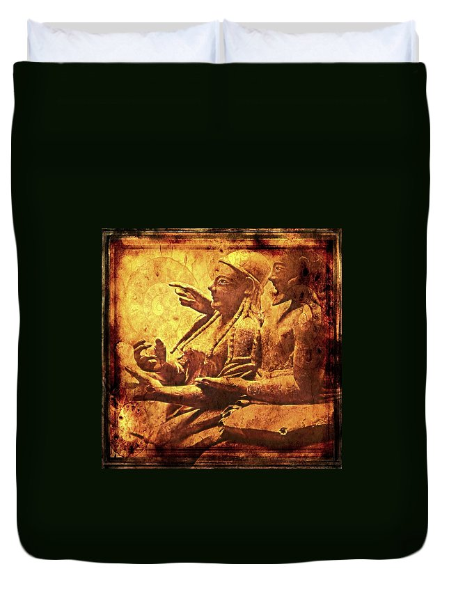 Etruscans Mystery Mysterious Civilisation Vanished Tags Duvet Cover featuring the photograph The Loving Etruscan Couple Vanished Civilisations by Nikki Keep