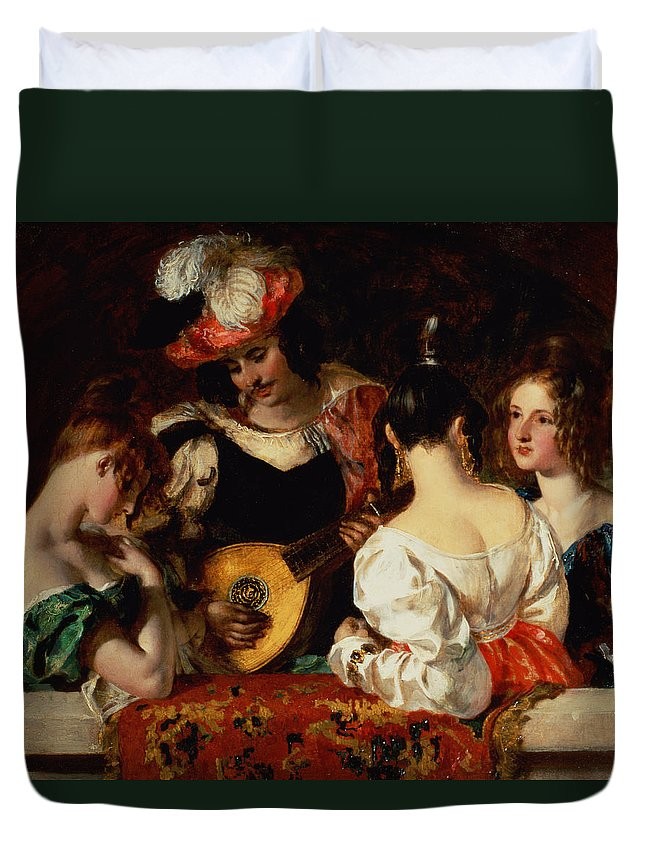 Male Duvet Cover featuring the painting The Lute Player by William Etty