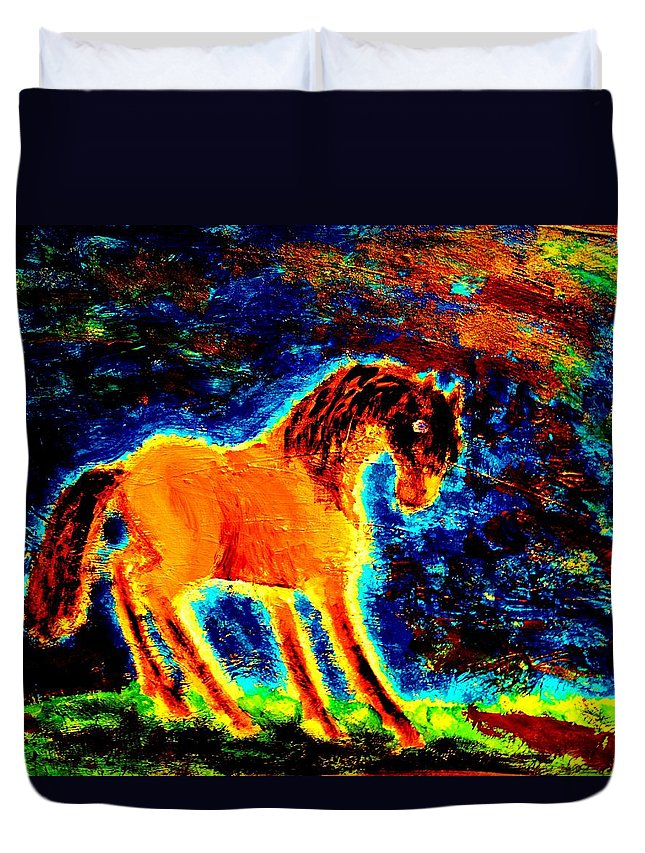Horse Duvet Cover featuring the painting The Magic Horse Will Talk To You But Will You Understand by Hilde Widerberg