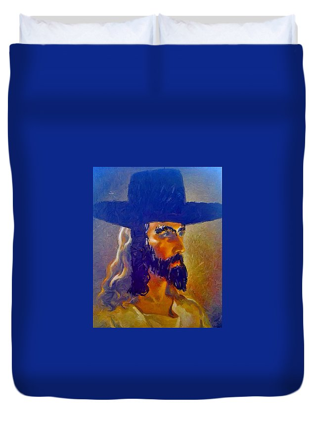 Jesus Duvet Cover featuring the painting The Man by Lisa Piper