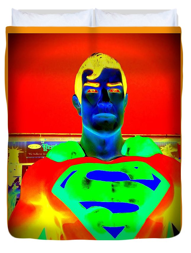 Pop Art Duvet Cover featuring the digital art The Man Of Steel by Ed Weidman