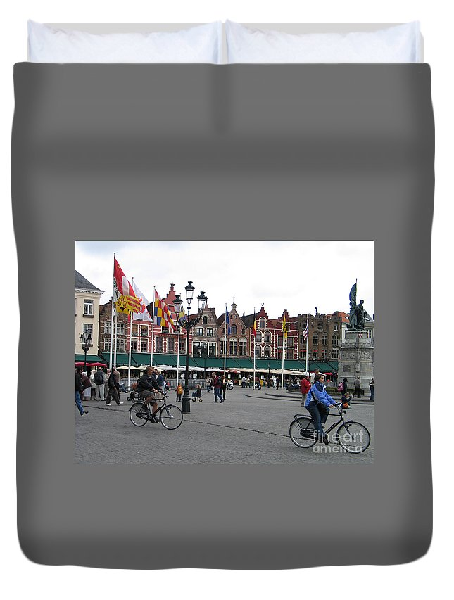 Bruges Duvet Cover featuring the photograph The Markt Bruges Belgium by Jason O Watson