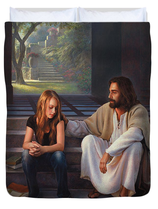 Jesus Duvet Cover featuring the painting The Master's Touch by Greg Olsen