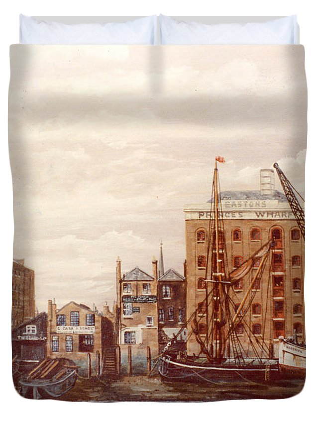 Rotherhithe Duvet Cover featuring the painting The Mayfloer Pub Rotherhithe London by Mackenzie Moulton