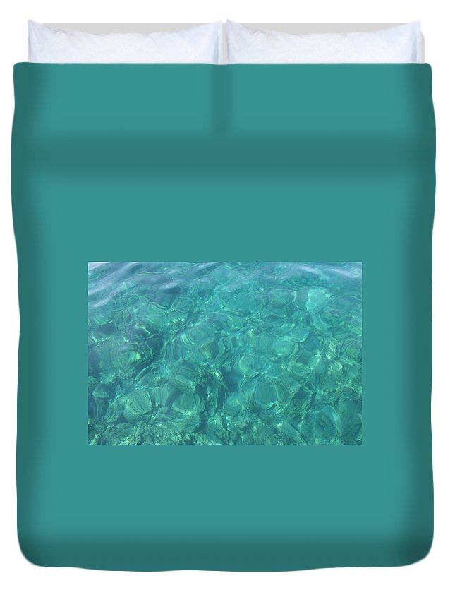Mediterranean Sea Duvet Cover featuring the photograph The Mediterranean Lyrics by Taiche Acrylic Art